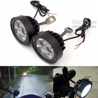 2 Pcs Universal Motorcycle Motorbike 12V LED Headlight Mirror Spot Light Spotlight Assist Lamp Rearview Side