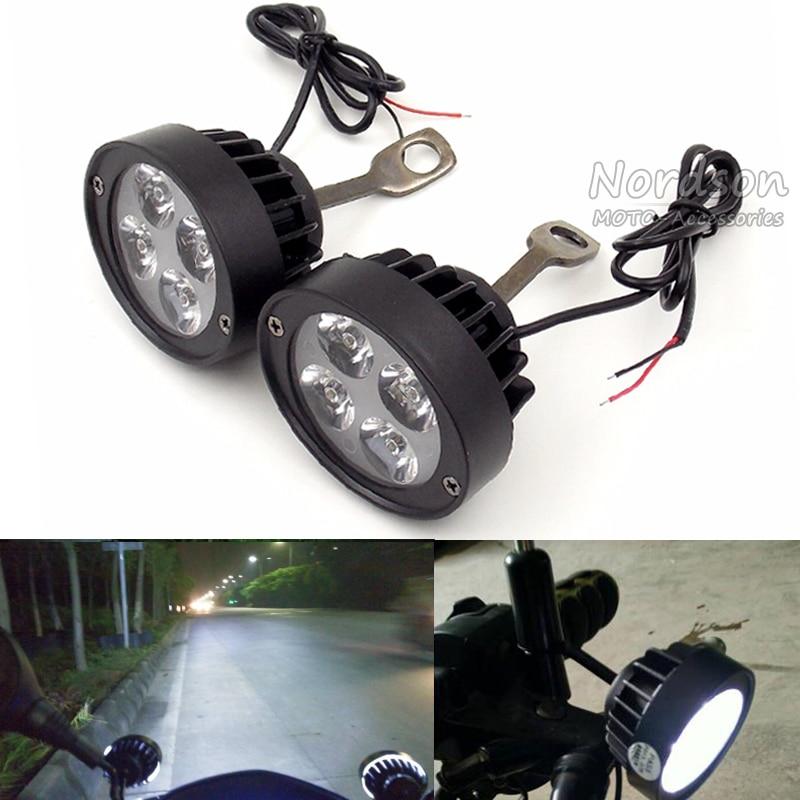 Arcade 2 Pcs Universal Led Moto Moto Spot Light Spotlight Lampe D'assistance Côté Miroir Montage Installation Lumière