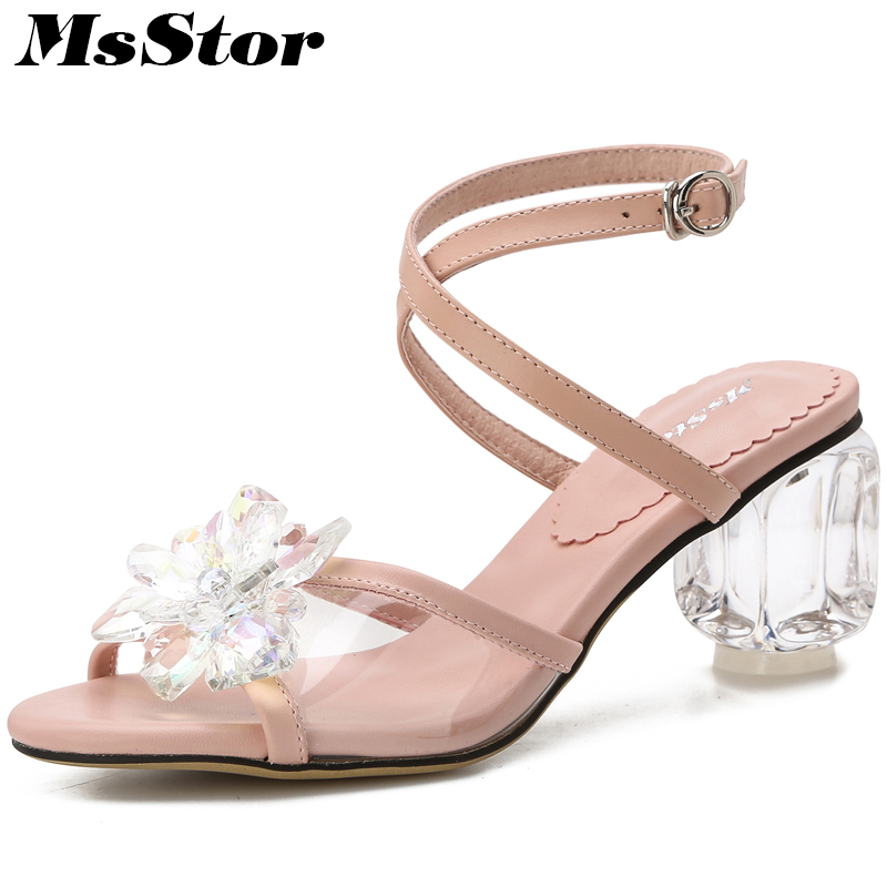 MsStor Women Open Toed Strange Style Rhinestone Sandals Fashion Crystal Flower Casual Party High Heels Women High Heel Shoes msstor round toe open toed women sandals fashion crystal high heels women sandals new summer wedges high heel sandal woman shoes