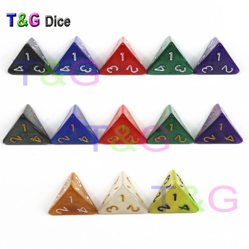 Brand New TRPG D4 Dice For DND 4 Sided Games Dices Rich Colors Desktop Polyhedral Set ,as Gift