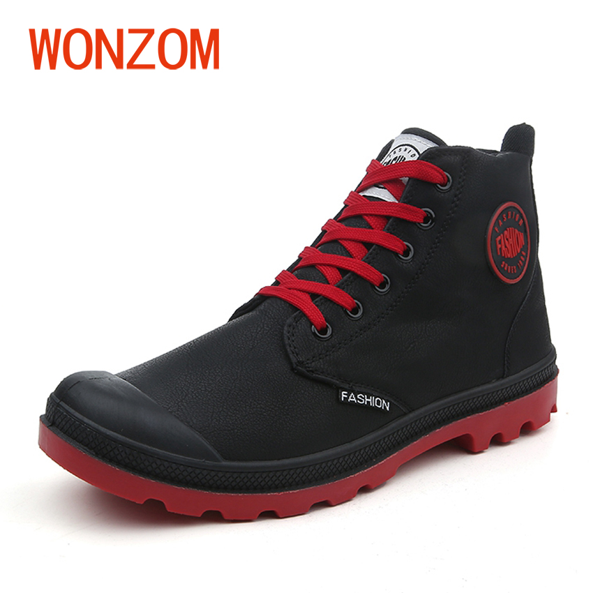 WONZOM Black Khaki Red 2018 Early Spring Men Shoes Fashion Ankle Motorcycle Boots Big Size 40-45 For Man New Arrivals Male Botas