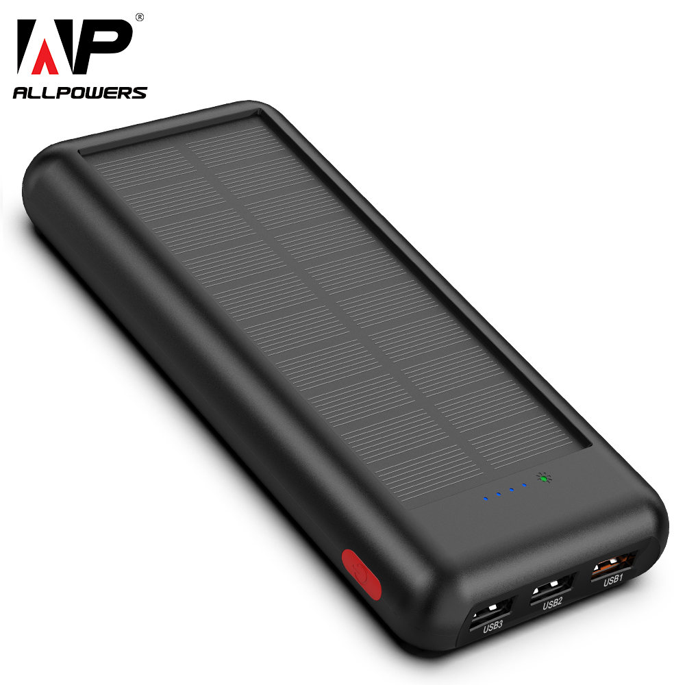 ALLPOWERS Newest 24000mAh Solar Power Bank Portable External Battery Solar Powerbank Charger for Smart Phone-in Power Bank from Cellphones & Telecommunications