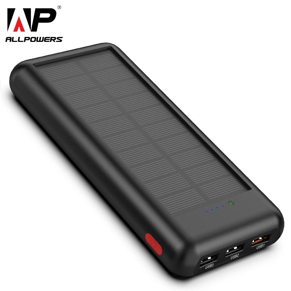 ALLPOWERS date 24000 mAh batterie Portable solaire Portable batterie externe batterie de secours solaire chargeur pour téléphone intelligent
