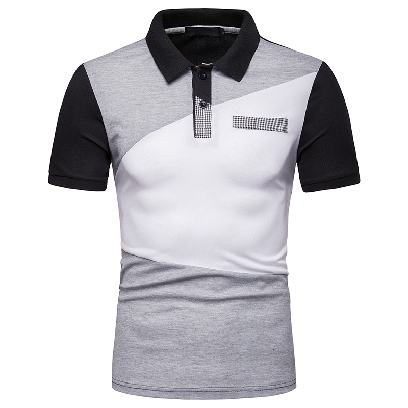 Men's New Fashion Summer Personality Matching Color   Polo  , Loose Lapel Casual   Polo   Short Sleeve