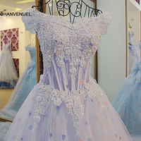 Xj59984 New Blue Evening Dress Sweetheart A Line Formal Dresses Off The Shoulder Sexy See Through