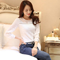 2015 New Fashion Casual Women Long Sleeve Lace Blouses White Summer Autumn Winter Elegant Female Shirt Plus Size Ladis Top
