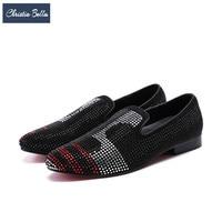 Christia Bella/модные мужские лоферы со стразами; дизайнерские шипованные ботинки вечерние тапочки для курения; мужские слипоны; мужская обувь на