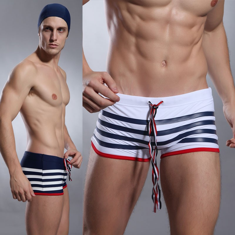 694feab77a Men's sexy swimwear white/blue striped swimsuit men slim swim shorts ...