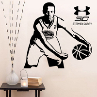 New arrival Vinyl wall art sticker basketball Star Stephen curry wallpaper wall decoration stickers wall Decor mural