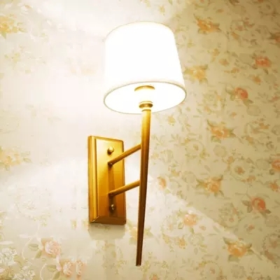 American Countryside Contracted Style Fabric Copper Retro Wall Lamp Bed Light Coffee Shop Decoration Lamp Free Shipping