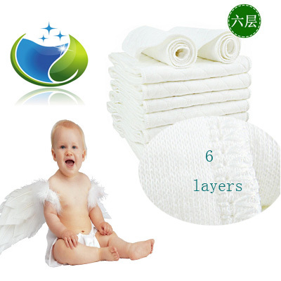 Prefold Organic Eco Cotton Reusable Diaper Liners Baby Modern Cloth Diaper Inserts For Diaper 6 Layers Toalha Fralda 5pecs/lot