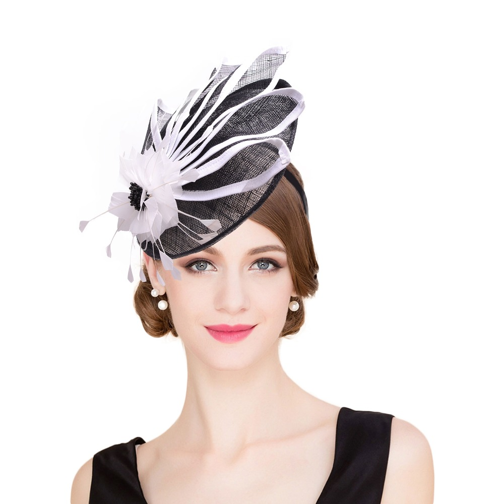 005f9059a0d63 Black Kentucky Derby Fascinator Hat For Women White Flower Sinamay Ladies  Hats Wedding Party ...
