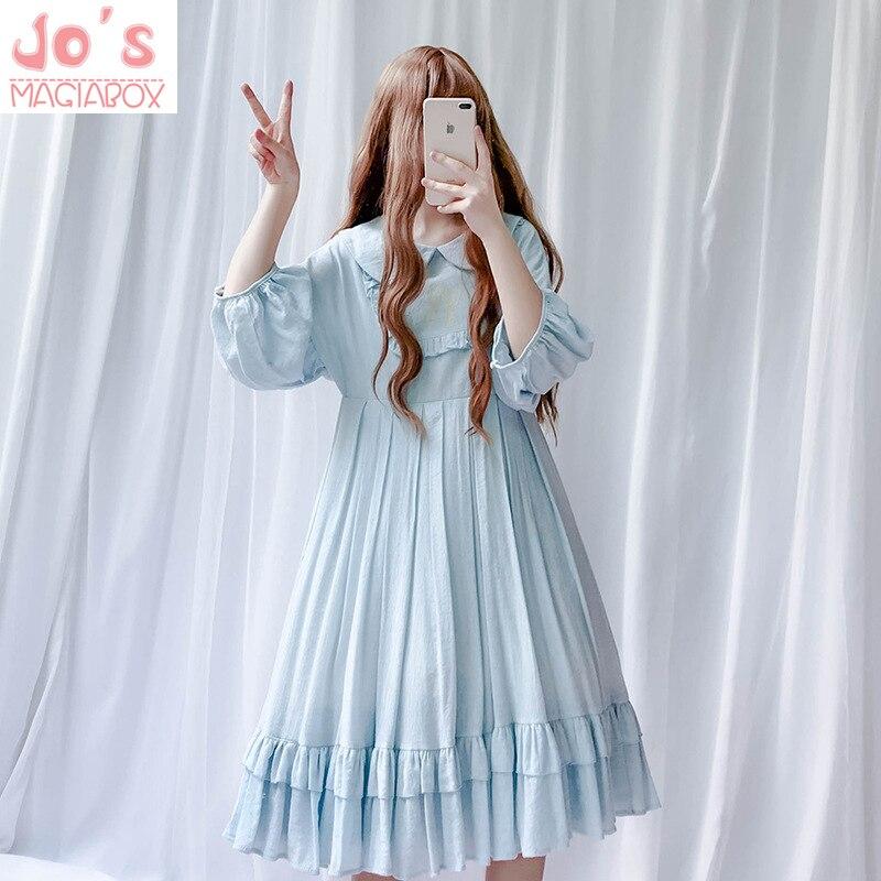 Femmes Kawaii Lolita robe Style doux couleur unie lanterne manches robe de noël Halloween robe de soirée Vestidos vêtements mignons