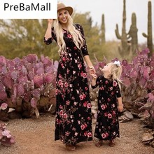 Mother Daughter Dresses Family Look Clothes Navy Floral Long Vestidos and Dress Matching Outfits C65