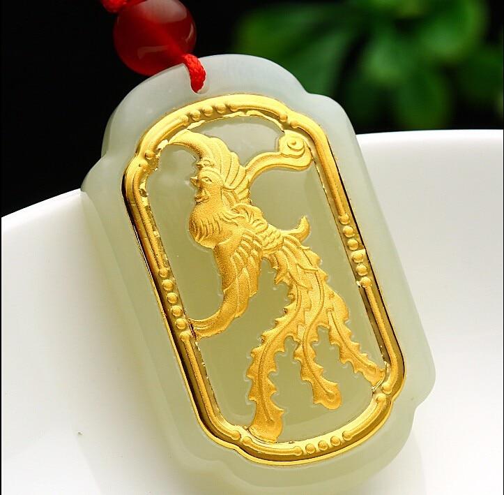 100% Natural Nephrite Hetian and 24K Yellow gold Phoenix Pendant pure 24k yellow gold natural jadeite carved dragon phoenix pendant