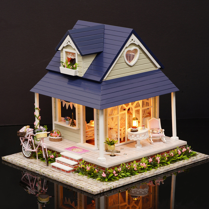 A060 Doll House Diy miniature 3D Wooden Puzzle Dollhouse miniaturas Furniture House Doll Single angel Valentine's Day gift d030 diy mini villa model large wooden doll house miniature furniture 3d wooden puzzle building model