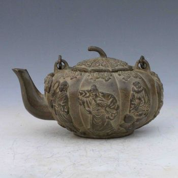 Chinese Antique Bronze Handwork Carved Eight Immortals Teapot Qian long Mark