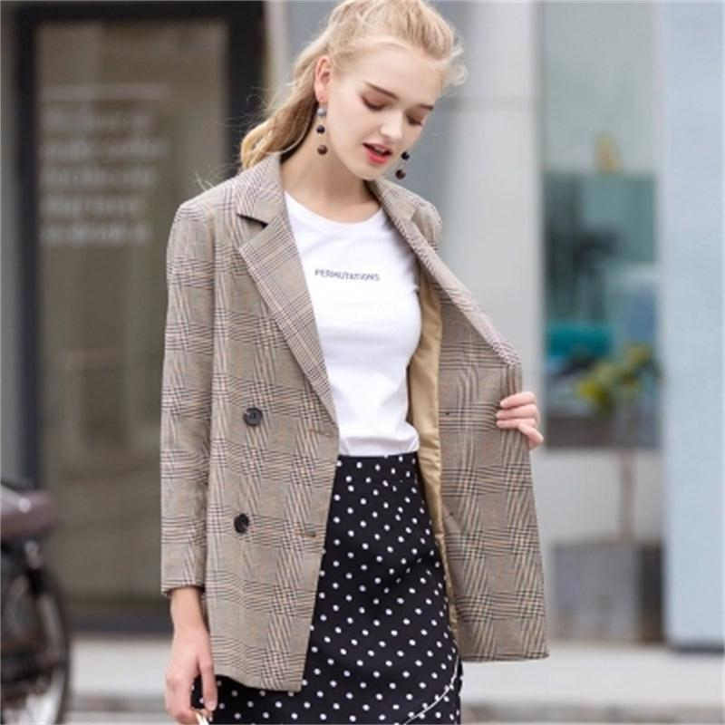 100% Quality New Plaid Women Blazers And Jackets Suit Ladies Long Sleeve Spring Autumn Small Suit Female Retro Check Loose Suit Jacket Women