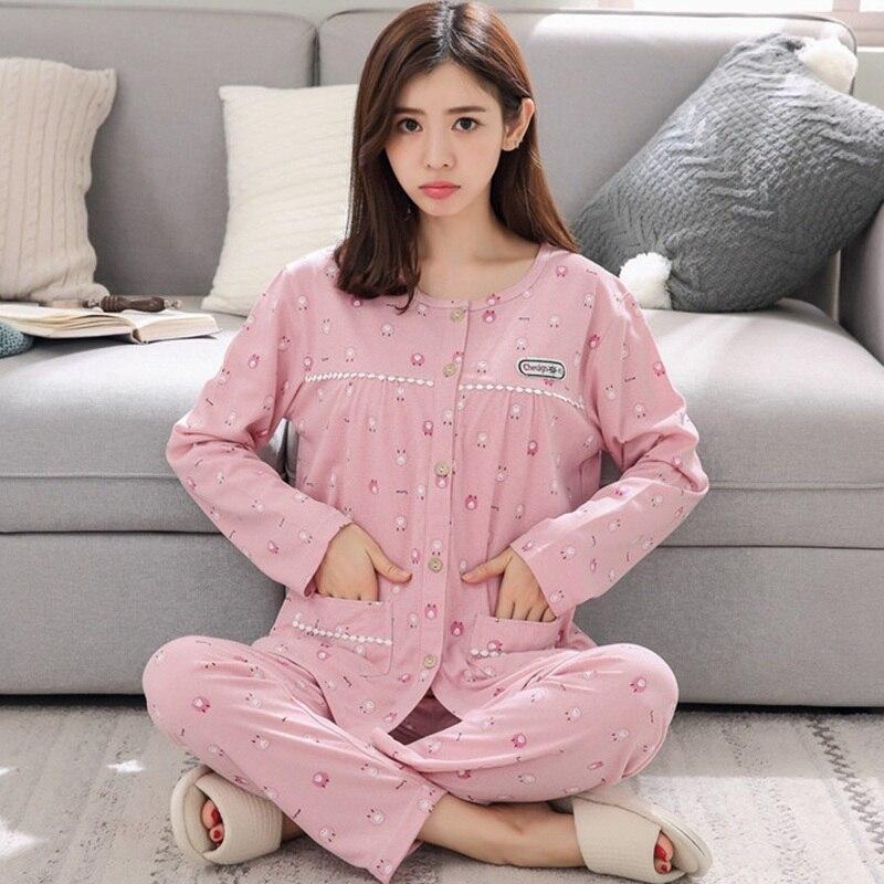 2019 Spring Autumn Plus Size 100% Cotton Pajama Sets For Women Long Sleeve Print Pyjama Loungewear Homewear Pijama Mujer Clothes