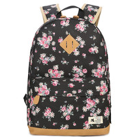 New Fashion Canvas Shoulder Bag Female Paragraph Small Floral Middle School Student Bag Computer Travel Women
