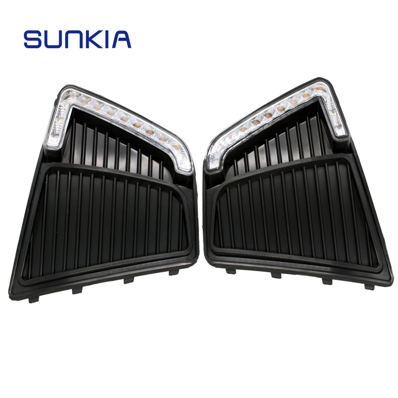 SUNKIA 12V Car LED DRL Daytime Running Lights with Fog Lamp Hole for Hyundai IX25 Creta 2014 2015 2017 Day Lights car styling led drl daytime running light fog lamp specific for hyundai ix25 creta 2015 with yellow turn signal function
