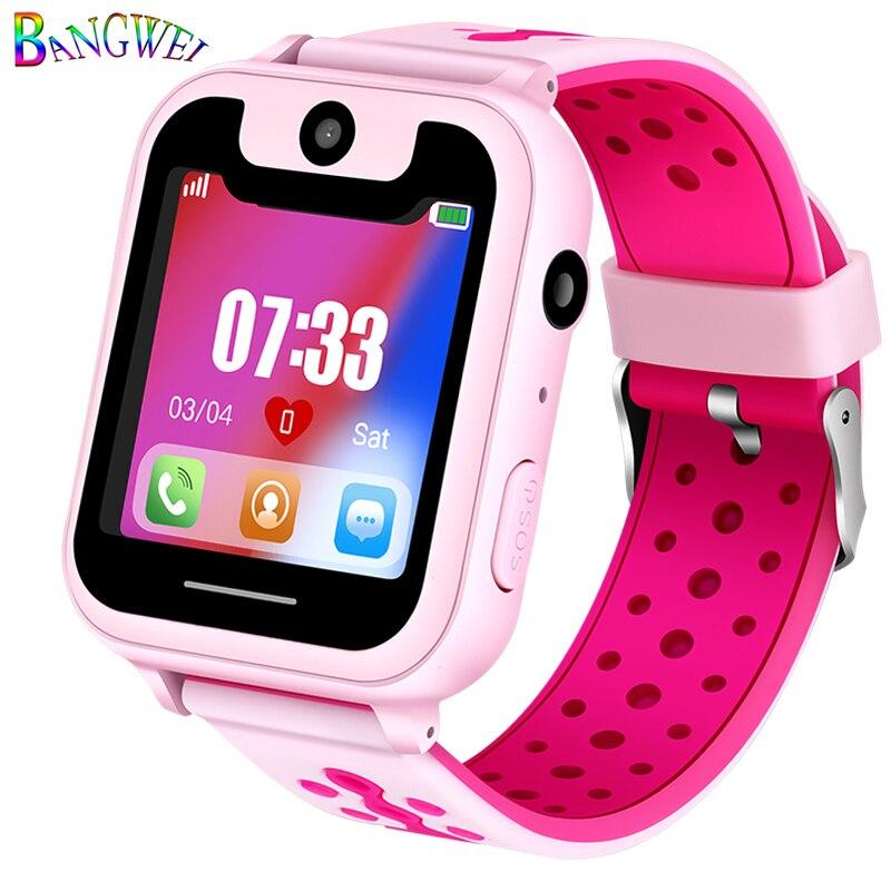 BANGWEI Offre Spéciale Enfants Montre Téléphone LBS Positionnement Surveillance À Distance D'éclairage SOS Enfant Montre Smart Watch Chat Vocal Carte SIM Caméra