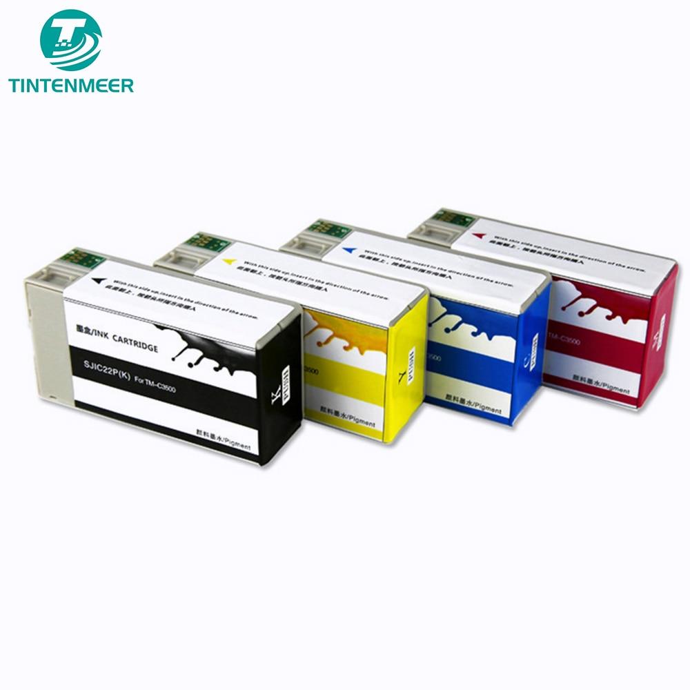 TINTENMEER pigment ink cartridge SJIC24P compatible for epson TM-C3520  TM C3520 label printing printer KCMY as 1 set