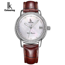 IK Colouring Luxury New Watch Women Rhinestone Automatic SelfWind Movement Watches Shell Dial Sapphire Ladies Watch montre femme