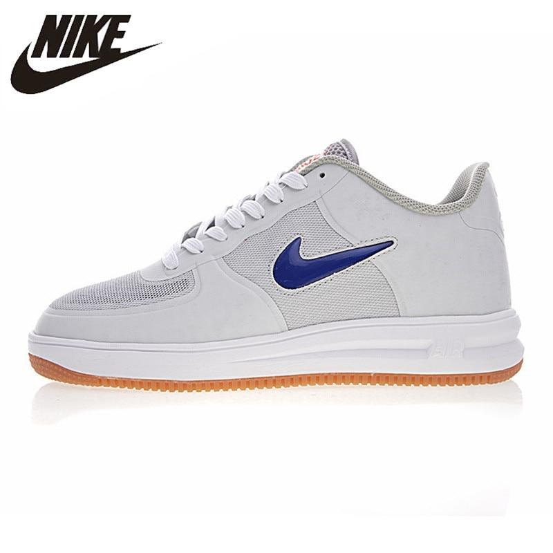Nike Lunar Force 1 Fuse X Clot AF1 Men Skateboarding Shoes, White, Non-slip Impact Resistant Abrasion Resistant 717303-064
