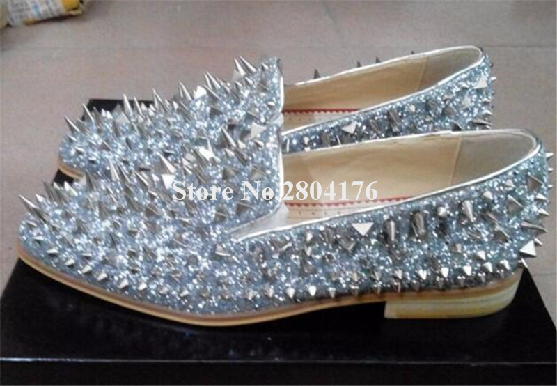Men Brand Bling Bling Gentlemen Gold Silver Blue Rivet Loafers Luxury Shinny Glitter Spike Flat Leisure Shoes Brideroom Shoes italians gentlemen пиджак