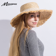 Floppy Raffia Large Brim Straw Hat Dome Jazz Caps Sombrero Fashion Ladies Beach Hat Outdoor Summer Sun Hats for Women and girl