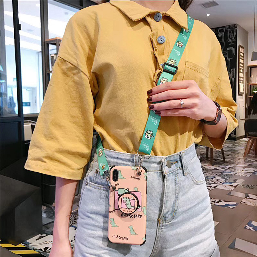 Anti knock strap case for iphone X XR XS MAX 8 7 6 6s plus case cover cute cartoon dinosaur holder tpu pc hard phone bag capa in Fitted Cases from Cellphones Telecommunications