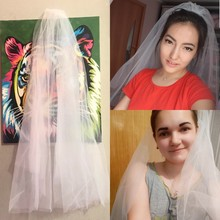 BOAKO Simple Two Layers Short Tulle Cut Edge White Wedding Veils 2019 Cheap Mariage Accessories Bridal Veil with Comb