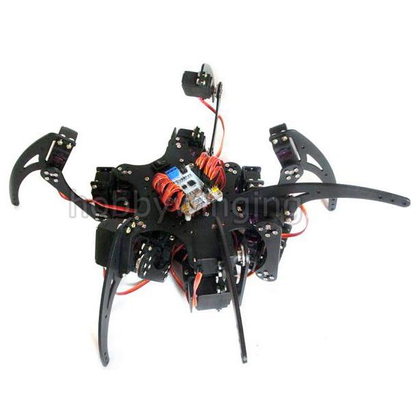 Arduino Aluminium Alloy Hexapod Spider Six 3DOF Legs Robot Frame Kit with Bearing/Horns/Metal Digital Gear Servos 18 DOF Black