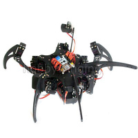 Arduino Aluminium Alloy Hexapod Spider Six 3DOF Legs Robot Frame Kit with Bearing/Horns/Metal Digital Gear Servos 18 DOF Black