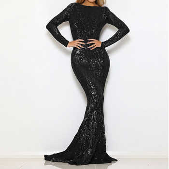 Black Sequined Maxi Dress Stretchy Full Sleeved Floor Length O Neck Full Lined Party Long Dress - DISCOUNT ITEM  38% OFF All Category