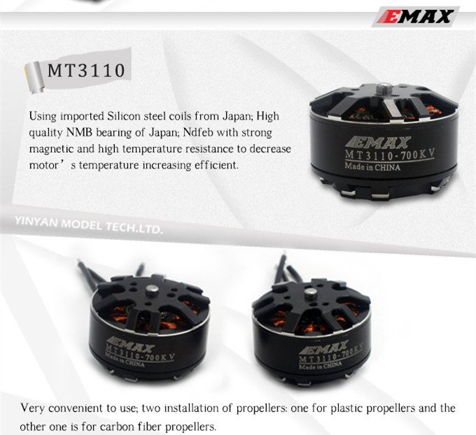 100% Original EMAX MT3110 480 / 700 KV motor 3-6S for DIY FPV drone U-pro 450-650 quadcopter T680 hexacopter радиатор охлаждения газ 3110 медный 3 рядный