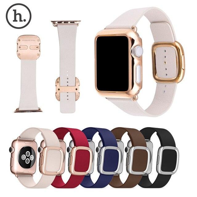 НОСО Современные Пряжка Группа для Apple Watch Ремень Топ-зерна кожаный Браслет с Магнитной Застежкой w + Чехол Для iWatch
