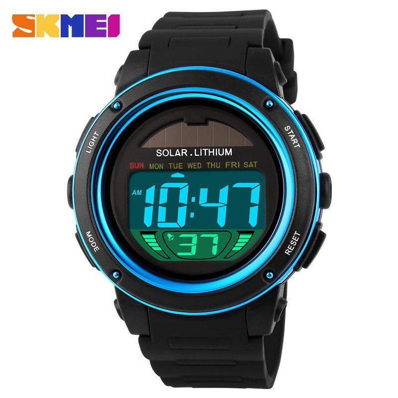2018 Solar Energy Watch Digital Watches Men Led Solar Male Clock Men Military Wristwatches Quartz Sports Watch Relogio Masculino