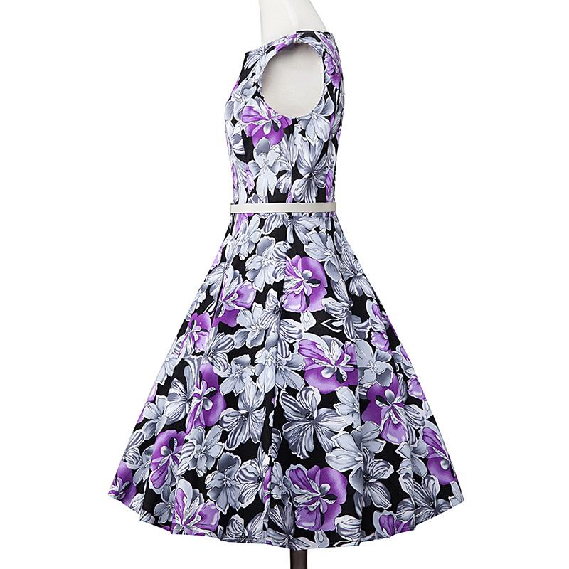 Kostlish Elegant Print Women Summer Dress Sleeveless Cotton Hepburn 50s 60s Vintage Dress With Belt Casual A-Line Ladies Dresses (47)