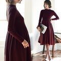 Maternity clothing winter top medium-long maternity one-piece dress autumn and winter basic shirt long-sleeve thickening