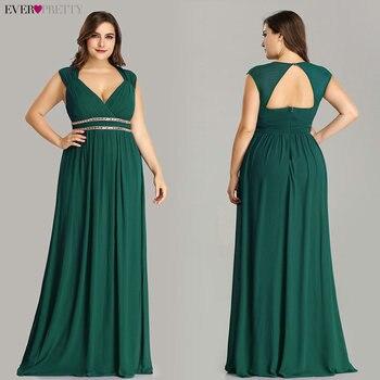 Ever Pretty Plus Size Formal Evening Dresses Long Women Elegant Burgundy V Neck Chiffon Empire Party Gown Robe De Soiree EP08697 4