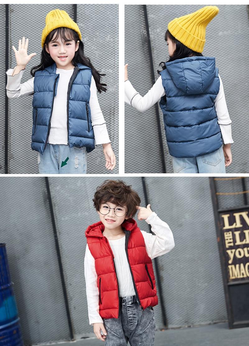 Autumn Children Warm Vest Kids Thicken Waistcoat Kids Outerwear Vest Children Clothing Teenager Boys Girls Hooded Jackets Vest (11)