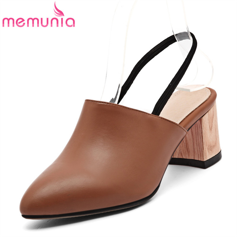 ФОТО MEMUNIA 2017 new arrive genuine leather summer shoes fashion slingbacks ladies pumps simple comfortable high heels shoes