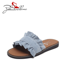 Zoe Saldana 2017 Fashion Ruffles Flat Slippers Denim Canvas Summer Casual Outside Beach Slides Women Shoes