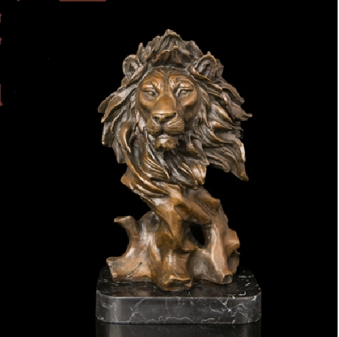ATLIE BRONZES Mighty Animal Sculpture High Quality Brass Sculptures Bust Lion Head Statue Bronze Lions Figurine Home Decor