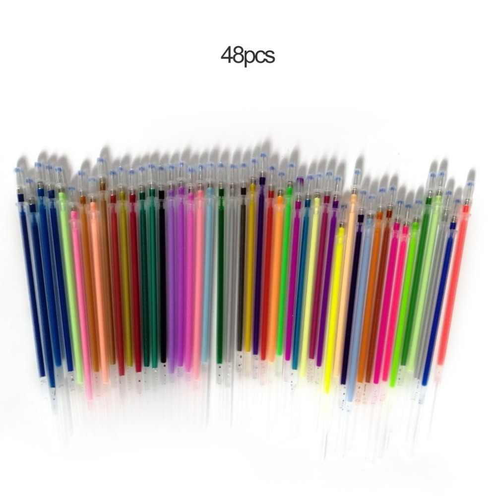 1.0mm Colorful Gel Pen Fluorescent Refills Color Cartridge Flash Pen Smooth Ink Painting Graffiti Pens Student Stationery