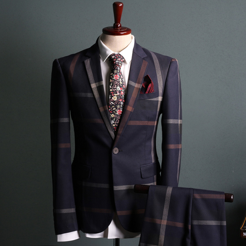 Striped Men Suit 2017 Fashion One-button Slim Fit Two Pieces Sets Casual Vintage Mens suits