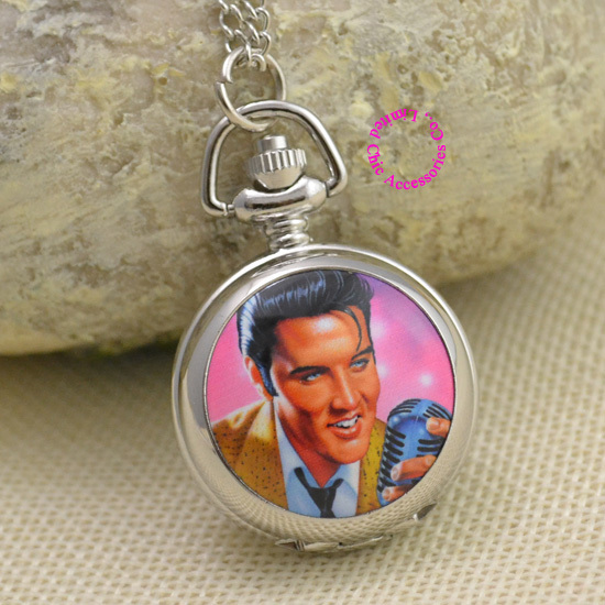 Elvis Presley For Women Ladies Gril Pocket Watch Necklace ladies girl fob watches silver antibrittle Fashion Wholesale rock rollElvis Presley For Women Ladies Gril Pocket Watch Necklace ladies girl fob watches silver antibrittle Fashion Wholesale rock roll