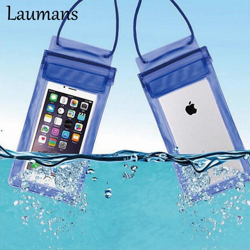 imágenes para Laumans 10 unids/lote Impermeable Bolsas Del Teléfono Celular Para El Iphone 6 s 6 6 plus 5S Natación Caso Cubierta de Silicona Transparente para Los Casos de Samsung